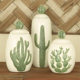 Urban Designs Farm Cactus Ceramic Decorative Jars (Set of 3)