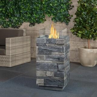 Real Flame Ledgestone Grey Fire Column