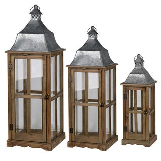 S/3 ScapeWood and Metal Lanterns Trio