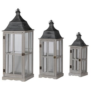 Grey Window-scape Lanters (Set of 3)