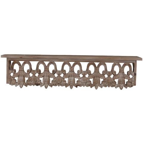 Thayne Brown Wood Medium Wall Shelf