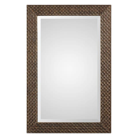 The Curated Nomad Dolores Bronze Honeycomb Rectangle Mirror