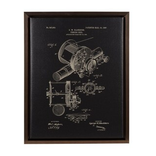 Kate and Laurel Sylvie Fishing Reel Patent Framed Canvas Wall Art