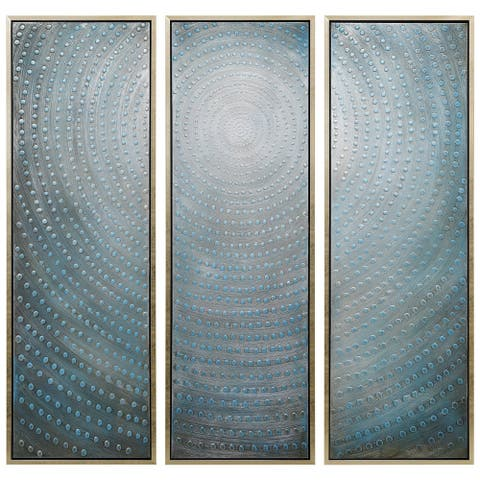 Concentric Hand Painted Wall Art Heavily Textured Bold Neutrals