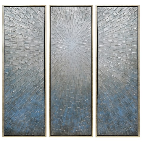 Silver Ice Textured Metallic Hand Painted Wall Art