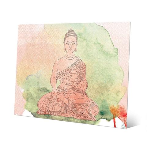 Tea Rose Watercolor Buddha Wall Art Print on Metal