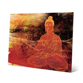 Rust Lotus Buddha on Brown Wall Art Print on Metal