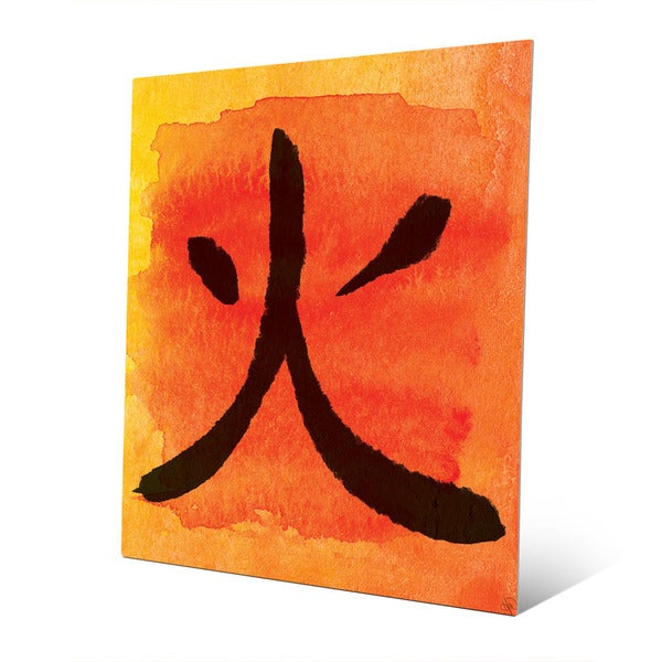 Mandarin Flame in Japanese Wall Art Print on Metal