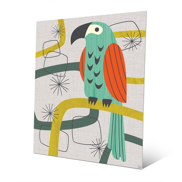shop retro parrot in green wall art print on metal on sale free