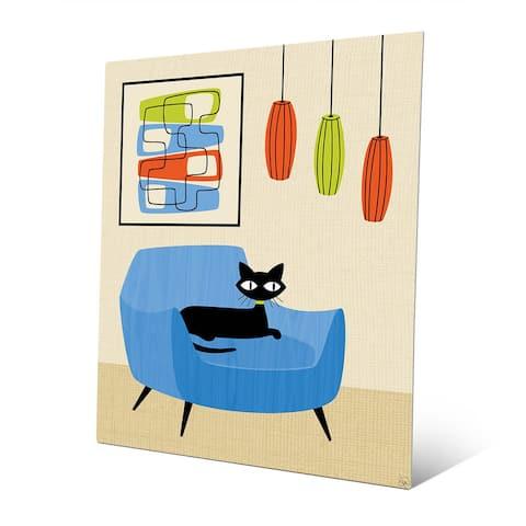 Retro Blue Chair Black Cat Wall Art Print on Metal