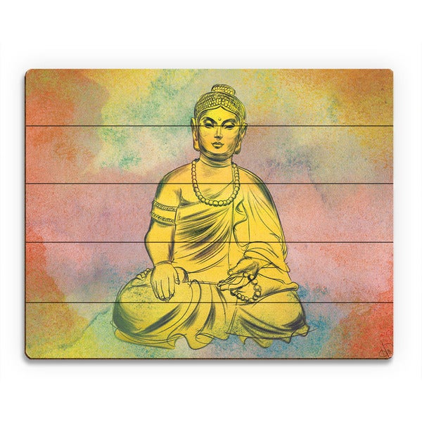 Amber Buddha Watercolor Wall Art Print on Wood - Free Shipping Today ...