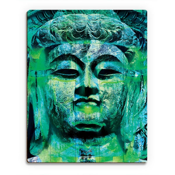 Teal Buddha Abstract Wall Art Print on Wood