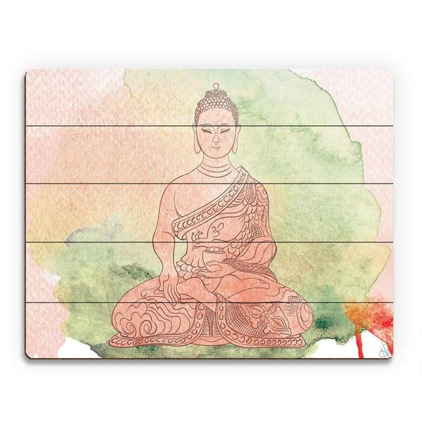Tea Rose Watercolor Buddha Wall Art Print on Wood