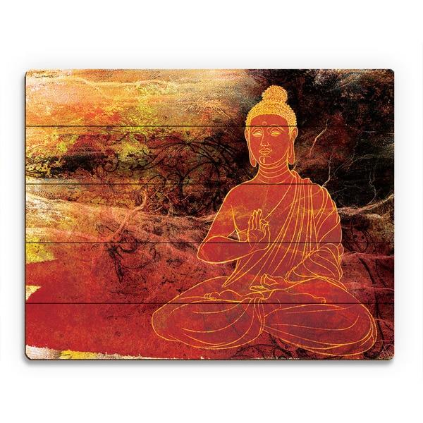 Rust Lotus Buddha on Brown Wall Art Print on Wood