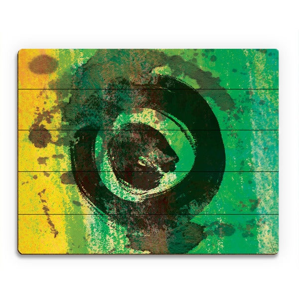 Green Painted Ring Abstract Wall Art Print on Wood