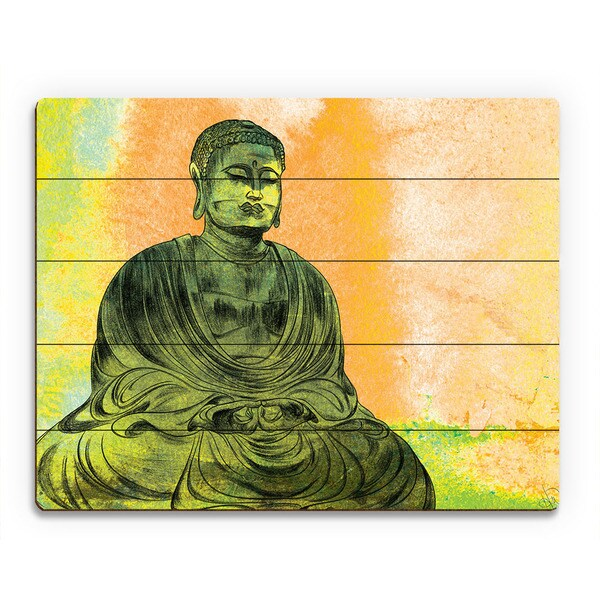 Persimmon Lotus Buddha Wall Art Print on Wood