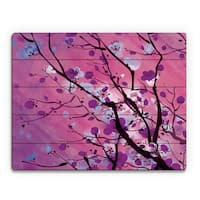Mulberry Floral Branch Wall Art Print on Wood