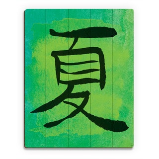 Lime Summer in Japanese Wall Art Print on Wood