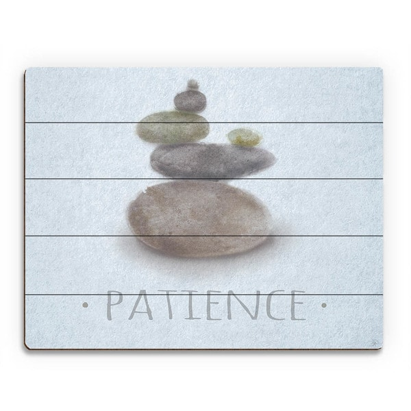 Zen Stones Blue Wall Art Print on Wood
