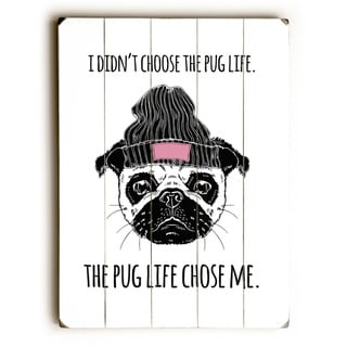 Pug Life Black Pink - Wall Decor by OBC - Planked Wood Wall Decor