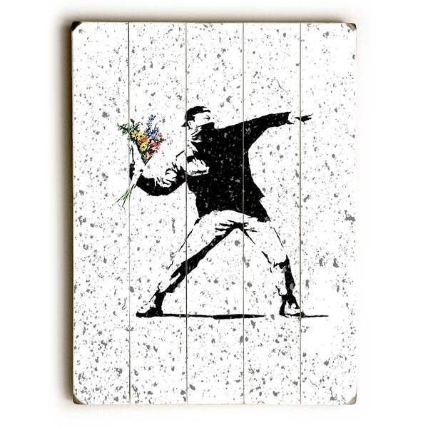 Rage Flowers Textured - White Wall Decor by Banksy - Multi
