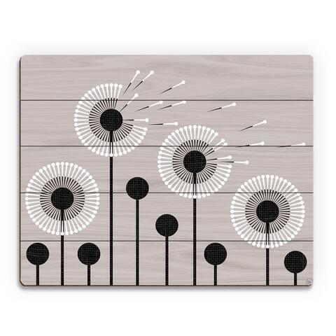 Retro Dandelions in Grey Wall Art Print on Wood