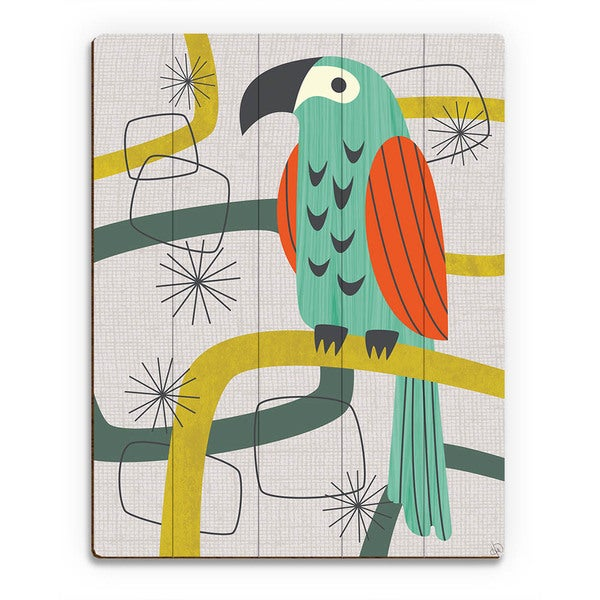 Retro Parrot in Green Wall Art Print on Wood