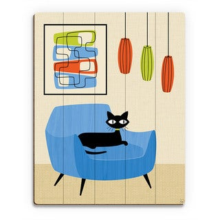 Retro Blue Chair Black Cat Wall Art Print on Wood