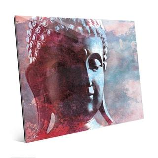 Cerulean Buddha Abstract Wall Art Print on Glass