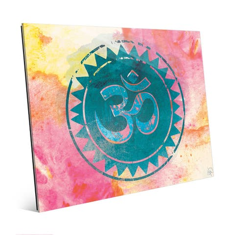 Art and Photo Decor Cyan Om Mantra Watercolor Glass Wall Art