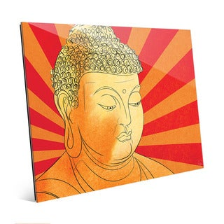 Buddha Vermillion Rays Wall Art Print on Glass