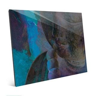 Cyan Dark Buddha Abstract Wall Art Print on Glass