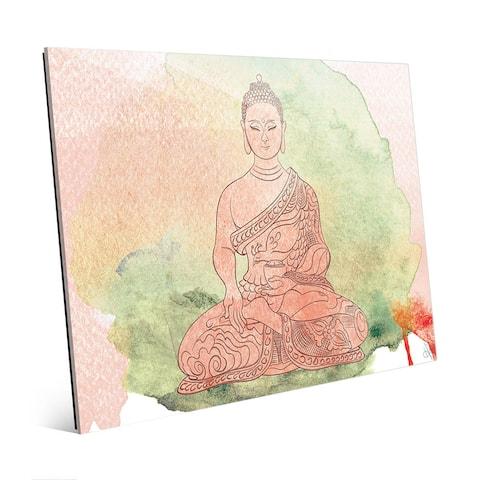 Tea Rose Watercolor Buddha Wall Art Print on Glass
