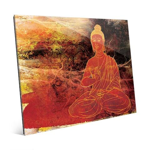 Rust Lotus Buddha on Brown Wall Art Print on Glass