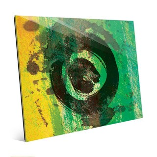 Emerald Painted Ring Abstract Wall Art on Glass