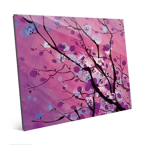 Mulberry Floral Branch Wall Art Print on Glass