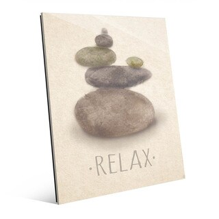 Relax and Peace Beige Wall Art Print on Glass