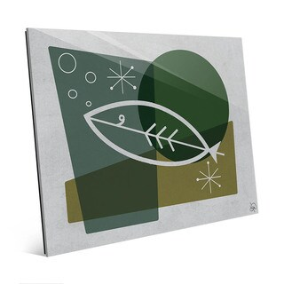 Fish in Green Mod Wall Art Print on Glass