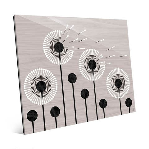 Art and Photo Decor Retro Dandelions in Grey Glass Wall Art Print