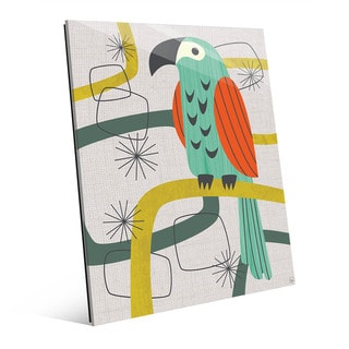 Retro Parrot in Green Wall Art Print on Glass
