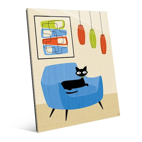 Retro Blue Chair Black Cat Wall Art Print on Glass