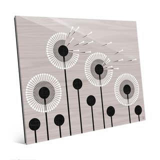 Retro Dandelions in Grey Wall Art Print on Acrylic