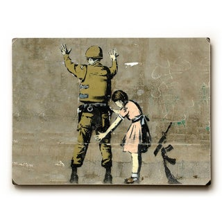 Checkpoint Pigtails - Wood Wall Decor by Banksy - 9 x 12