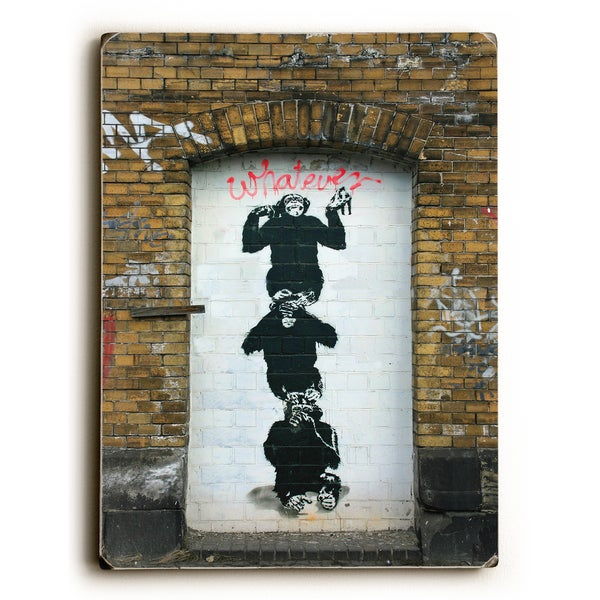 Monkey business - Wood Wall Decor by Banksy - 9 x 12