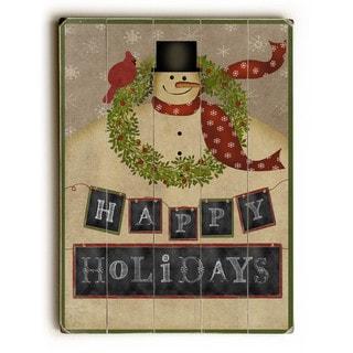 Happy Hoildays Snowman - Wall Decor by Mainline Art Design - Green/Red