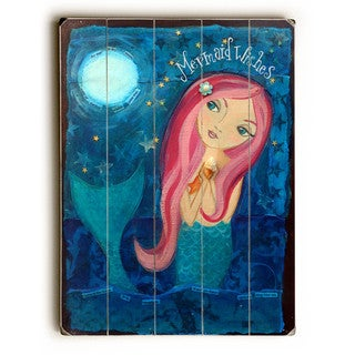 Mermaid Wishes - Wall Decor by Heather Rushton - Planked Wood Wall Decor
