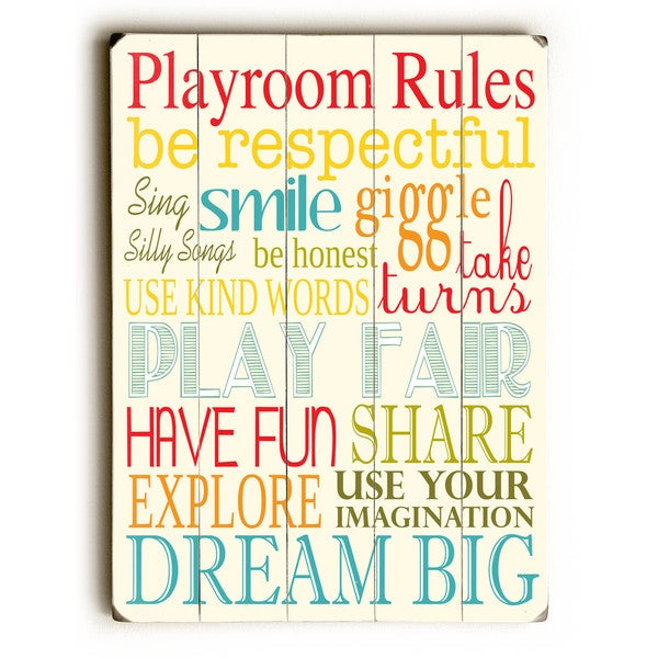 Playroom Rules - Wall Decor by Finny and Zook - Multi
