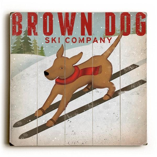 Brown Dog Ski - Wood Wall Decor by Ryan Fowler