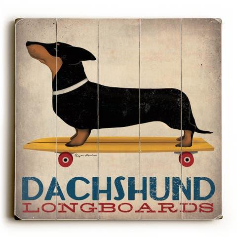 Dachshund Longboards - Wood Wall Decor by Ryan Fowler