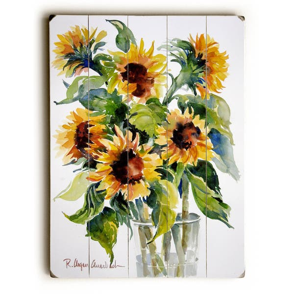 Glass Full Of Sunflowers Wall Decor By Artlicensing Overstock 16625044
